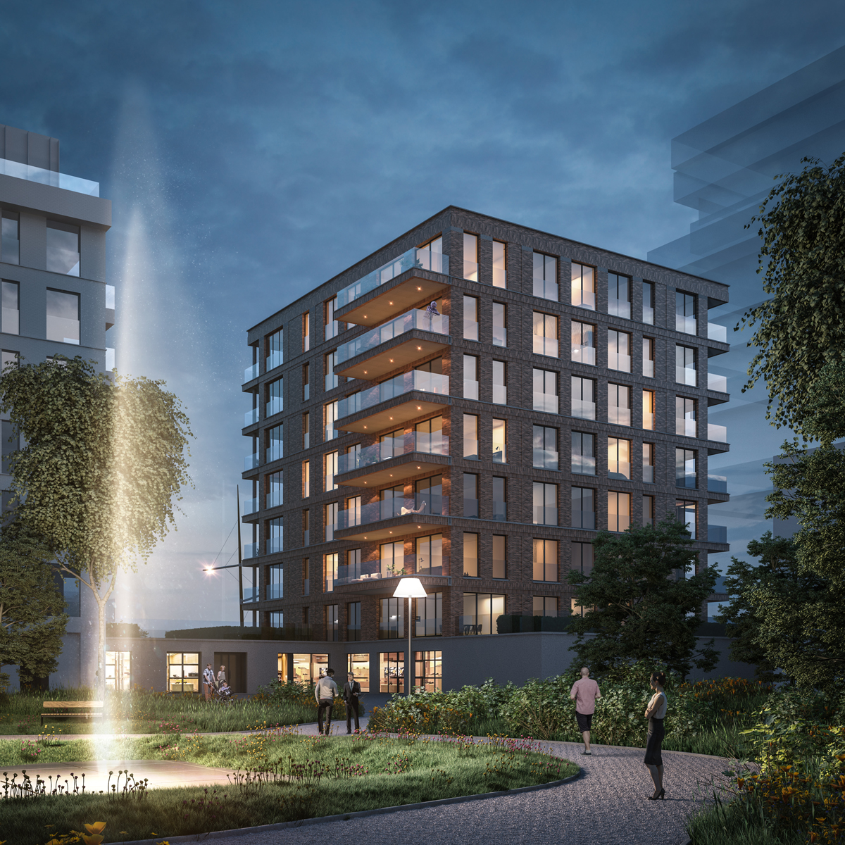 Nieuwbouw appartementen Oostende Baelskaai met prachtig avondlicht