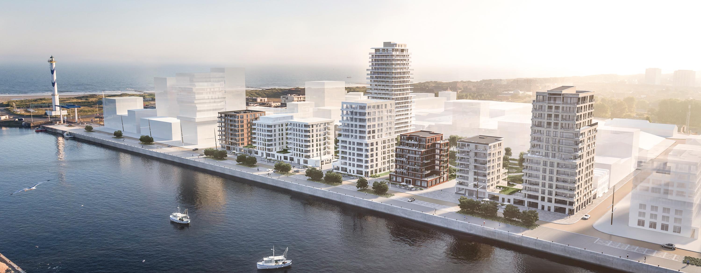 Bmasterplan van nieuwbouw appartementen op de Baelskaai